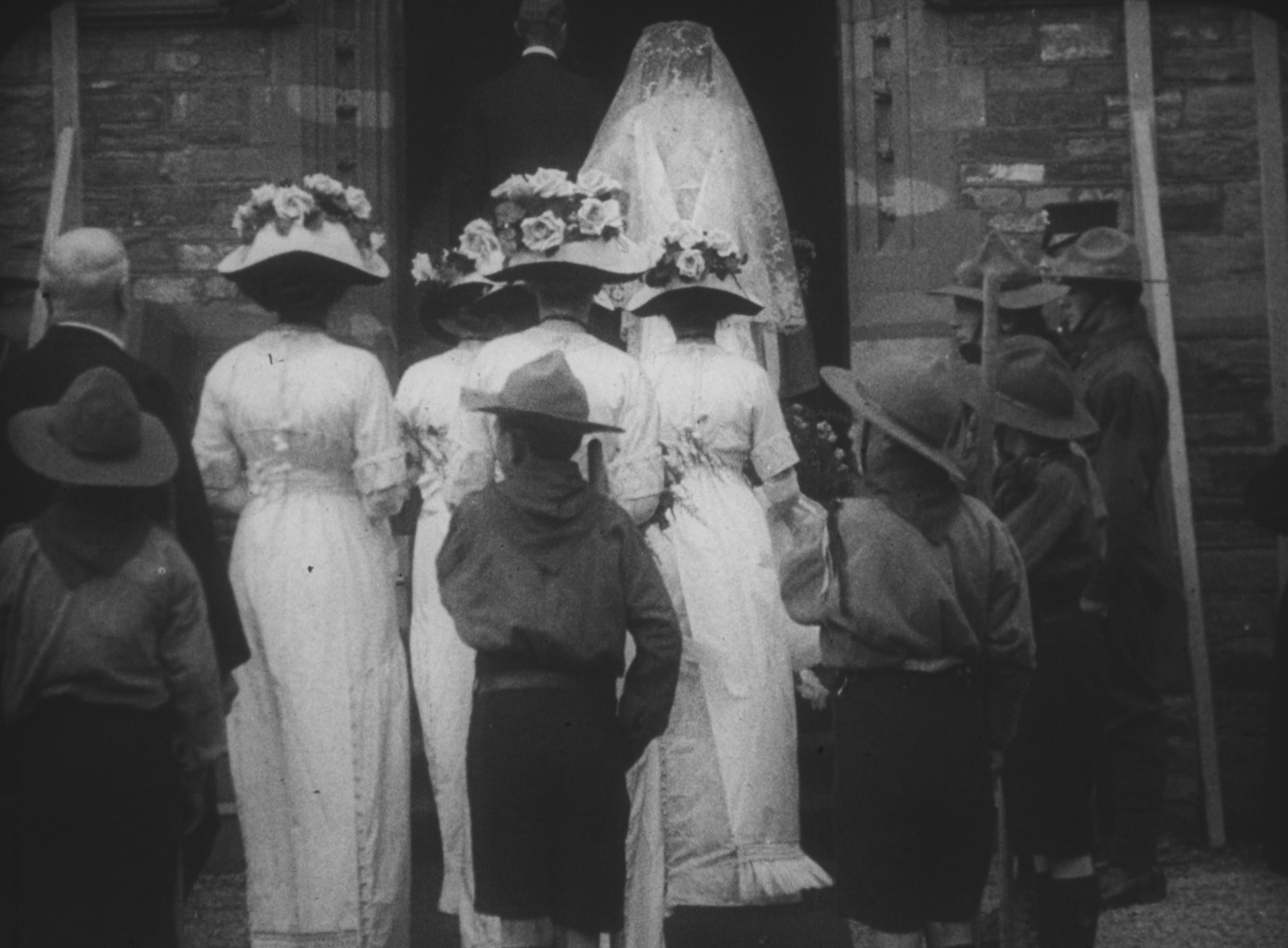 The bridal procession enters the church